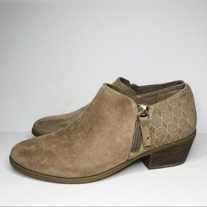 Dr Scholls tan ankle boots with laser cut details